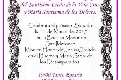 Misa en Honor a Jesús Orando en el Huerto y a María Stma. de los Desamparados