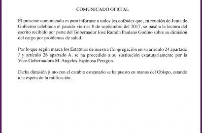 COMUNICADO OFICIAL: Cambio en Junta Directiva
